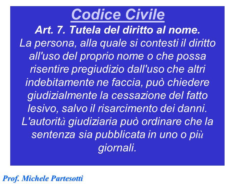Codice Civile Art. 7. Tutela del diritto al nome