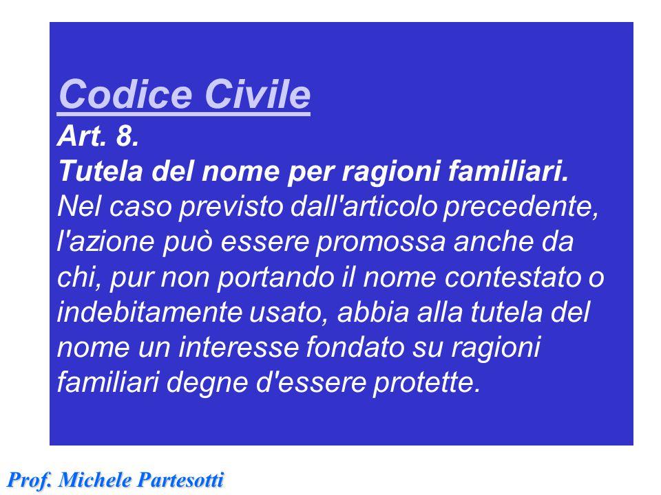 Codice Civile Art. 8. Tutela del nome per ragioni familiari