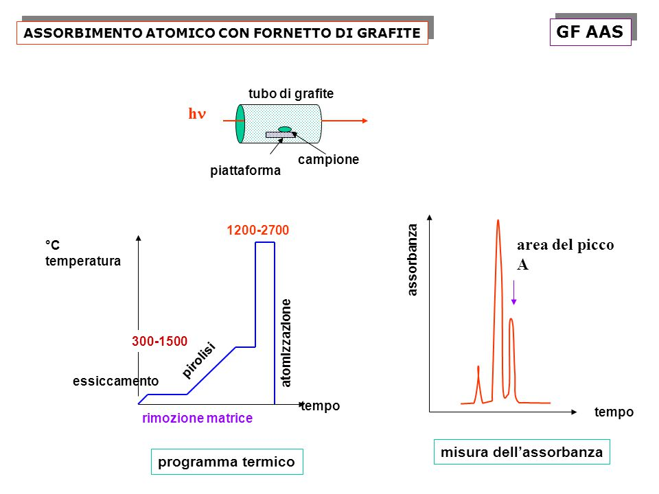 GF AAS hn area del picco A misura dell'assorbanza programma termico