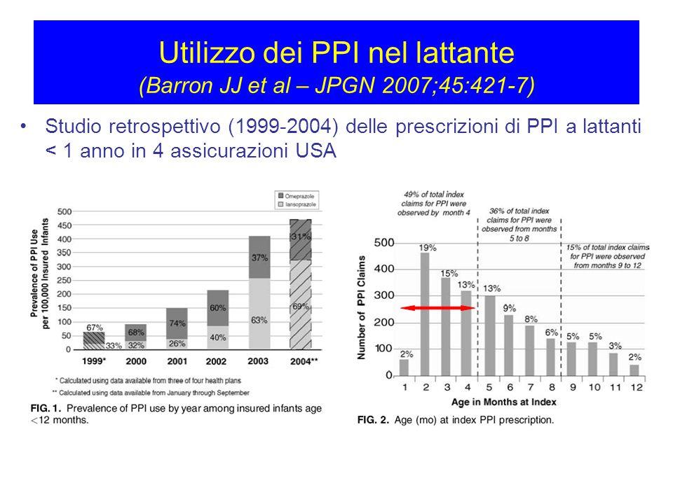 Utilizzo dei PPI nel lattante (Barron JJ et al – JPGN 2007;45:421-7)