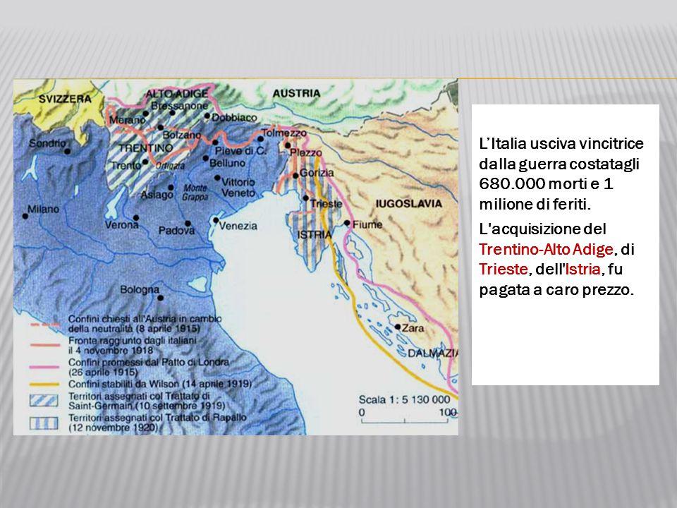 L'Italia usciva vincitrice dalla guerra costatagli 680