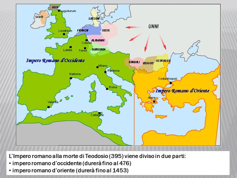 L'Impero romano alla morte di Teodosio (395) viene diviso in due parti: