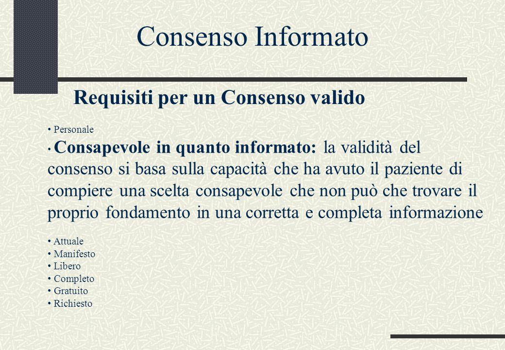 Consenso Informato Requisiti per un Consenso valido Personale