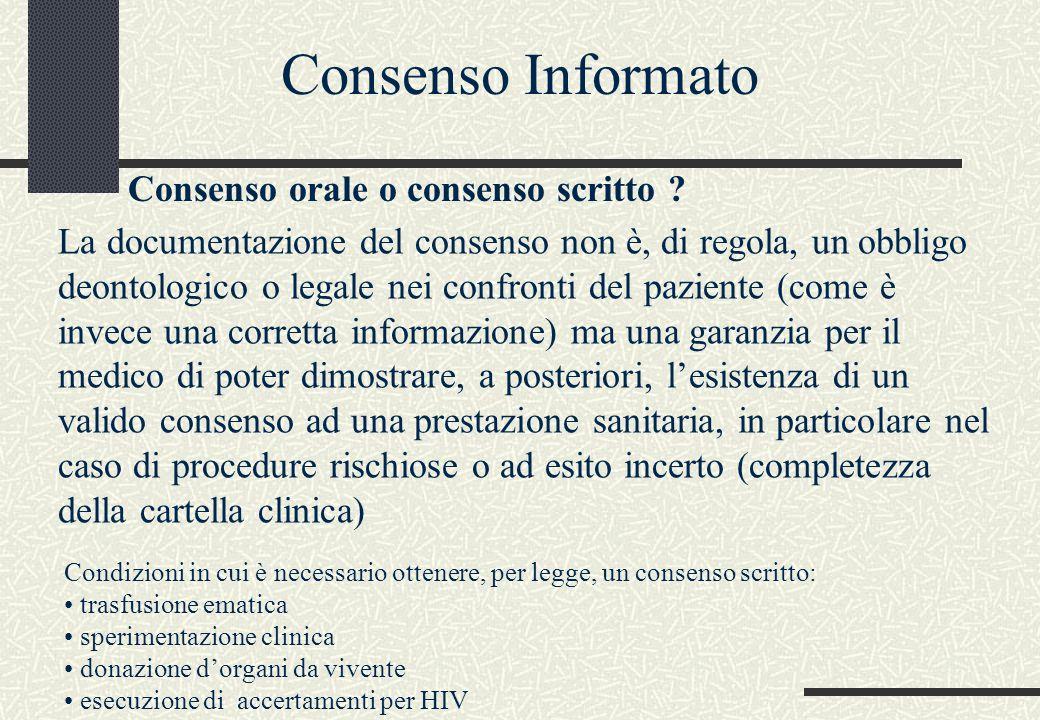 Consenso Informato Consenso orale o consenso scritto