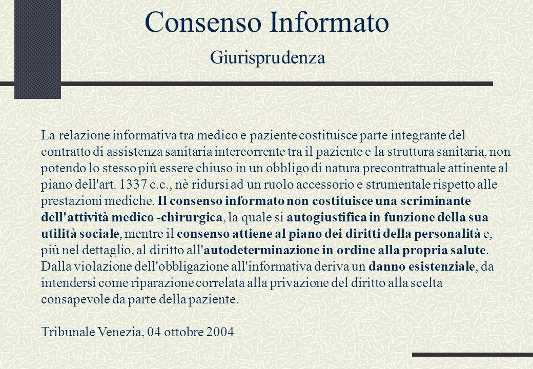 Consenso Informato Giurisprudenza