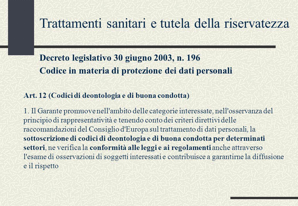 Trattamenti sanitari e tutela della riservatezza