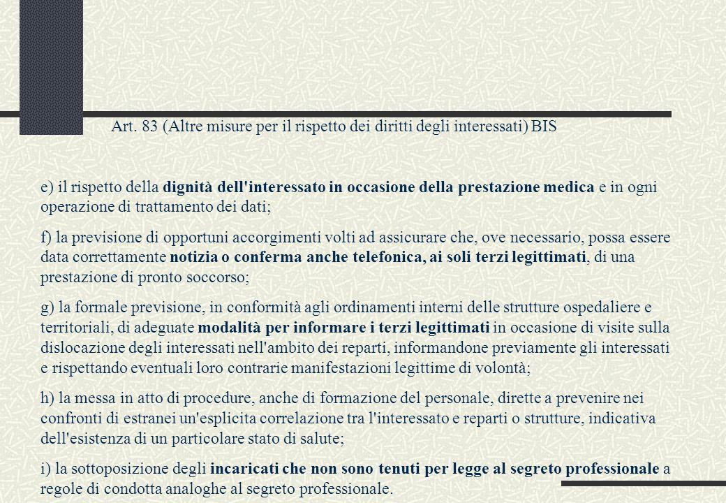 Art. 83 (Altre misure per il rispetto dei diritti degli interessati) BIS