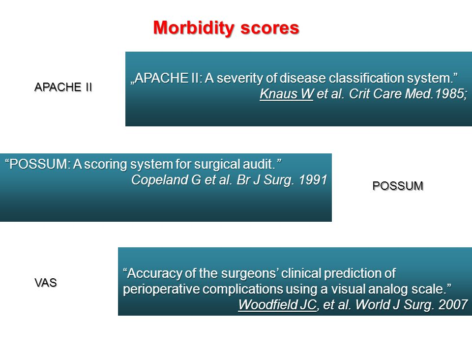 "Morbidity scores ""APACHE II: A severity of disease classification system. Knaus W et al. Crit Care Med.1985;"