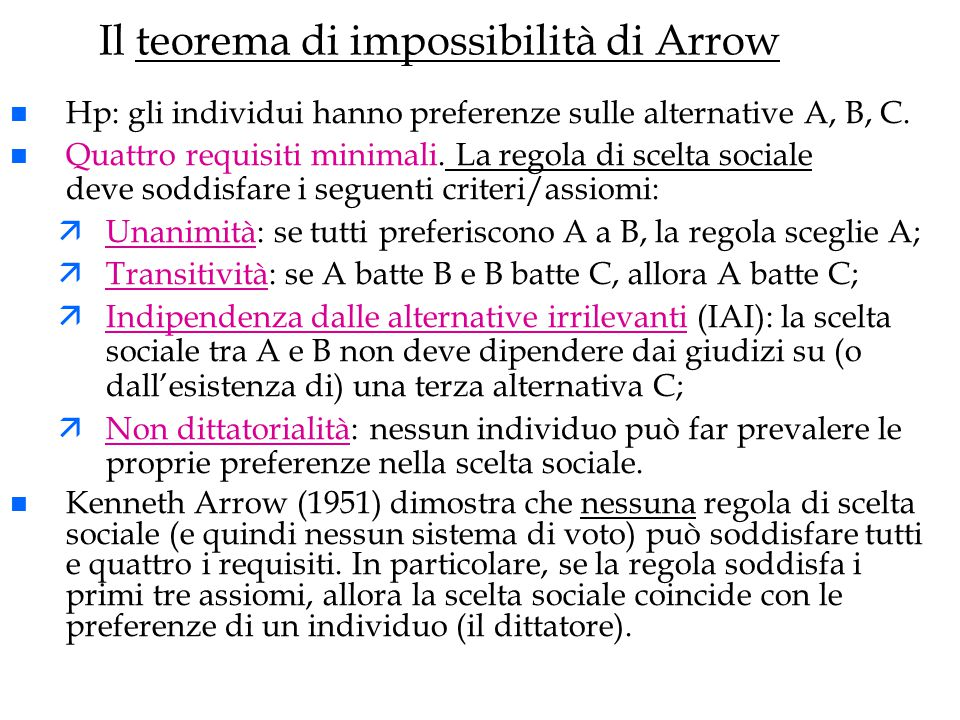 Il teorema di impossibilità di Arrow