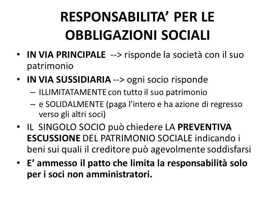 RESPONSABILITA' PER LE OBBLIGAZIONI SOCIALI