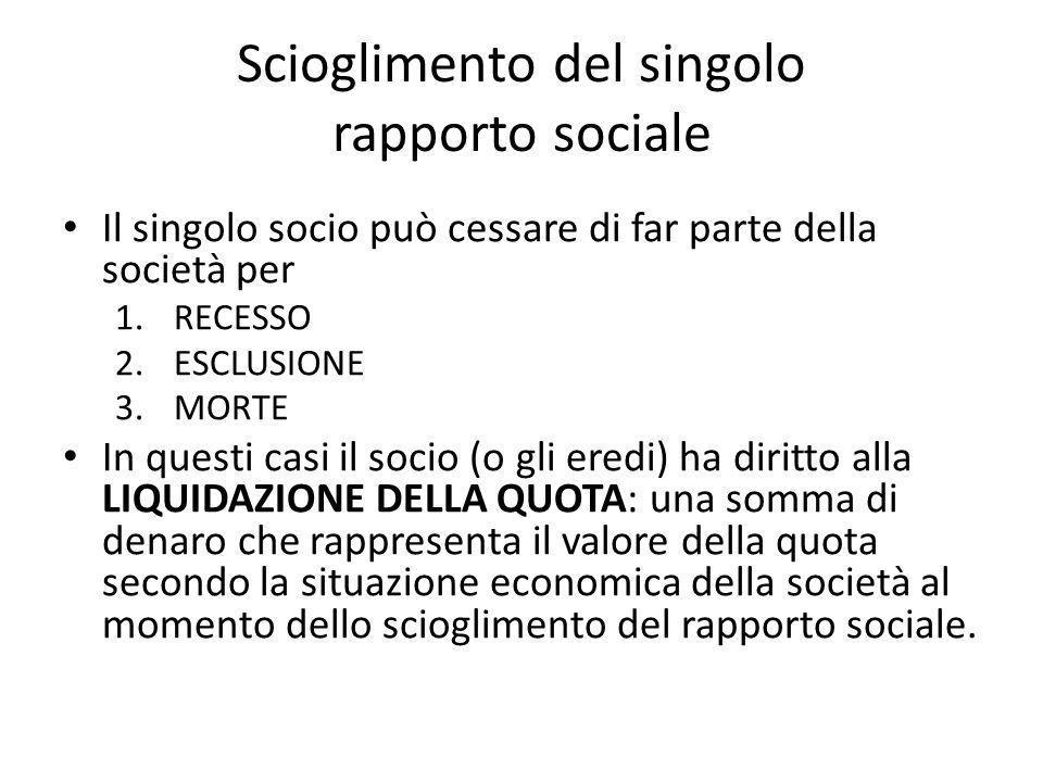 Scioglimento del singolo rapporto sociale