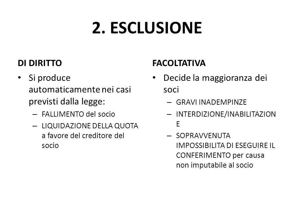 2. ESCLUSIONE DI DIRITTO FACOLTATIVA
