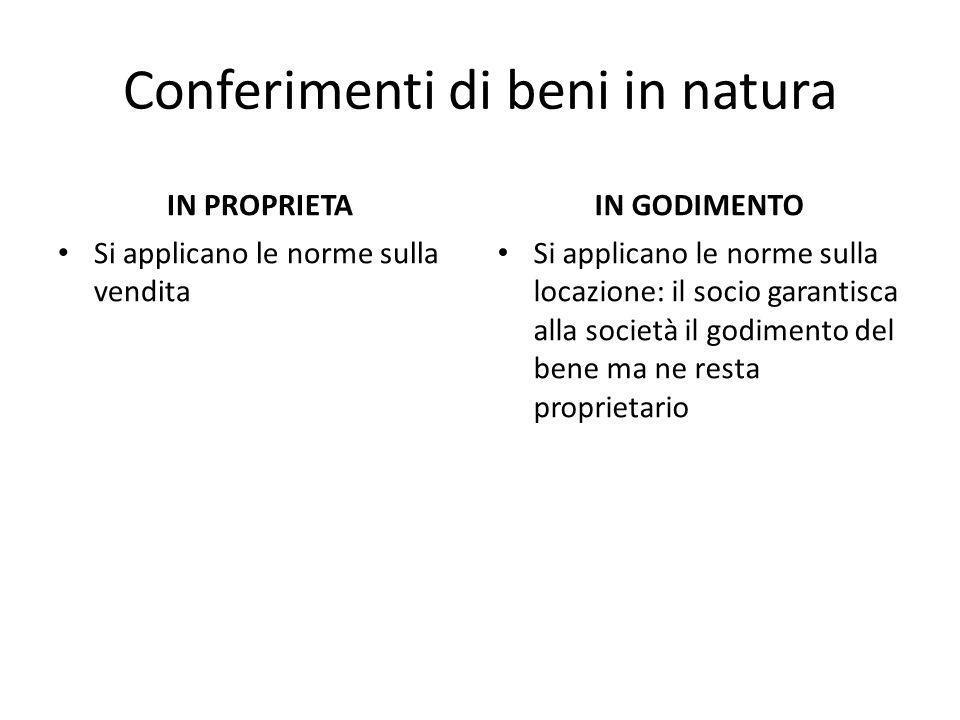 Conferimenti di beni in natura