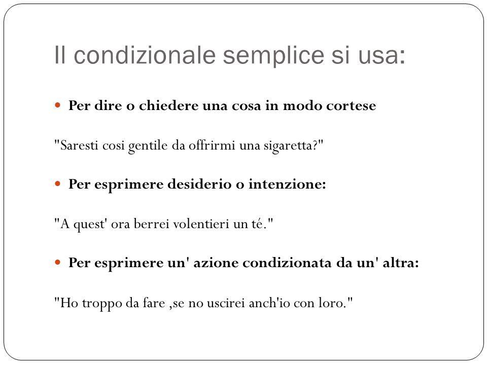 Il condizionale semplice si usa: