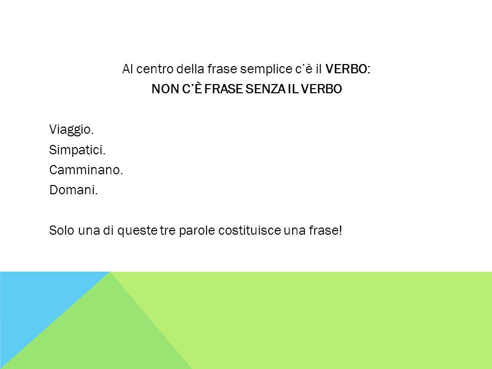 Al centro della frase semplice c'è il VERBO: NON C'È FRASE SENZA IL VERBO Viaggio.