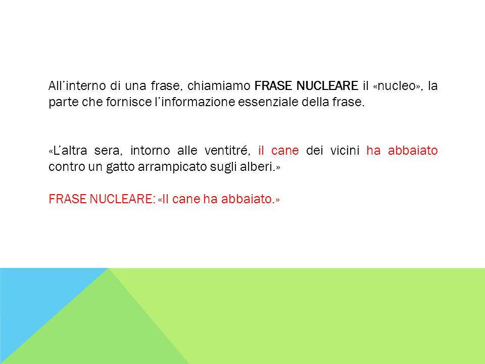 All'interno di una frase, chiamiamo FRASE NUCLEARE il «nucleo», la parte che fornisce l'informazione essenziale della frase.
