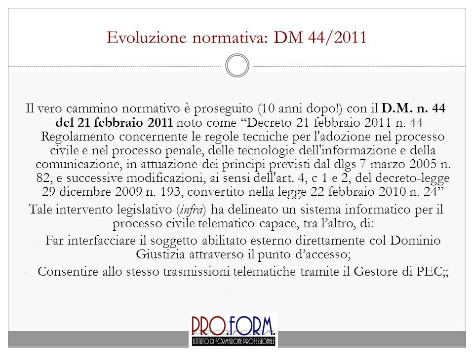 Evoluzione normativa: DM 44/2011