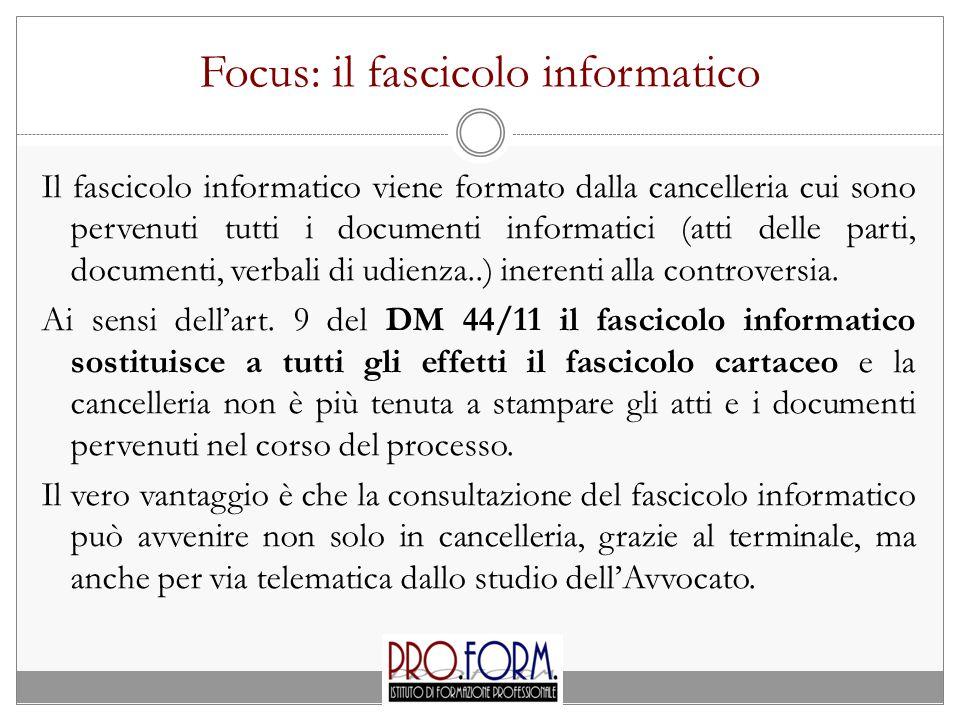 Focus: il fascicolo informatico