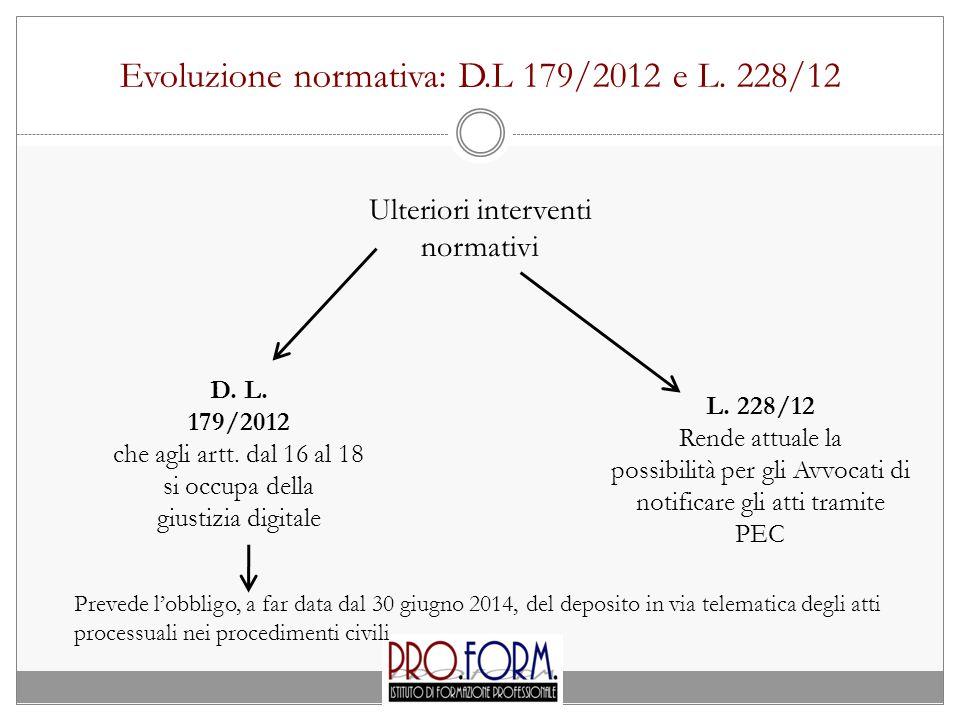 Evoluzione normativa: D.L 179/2012 e L. 228/12