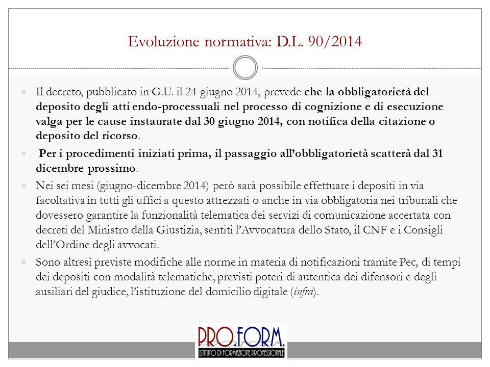 Evoluzione normativa: D.L. 90/2014