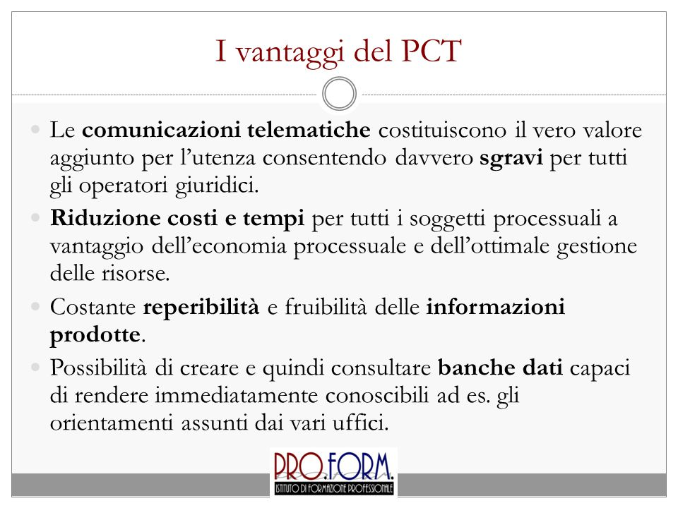 I vantaggi del PCT