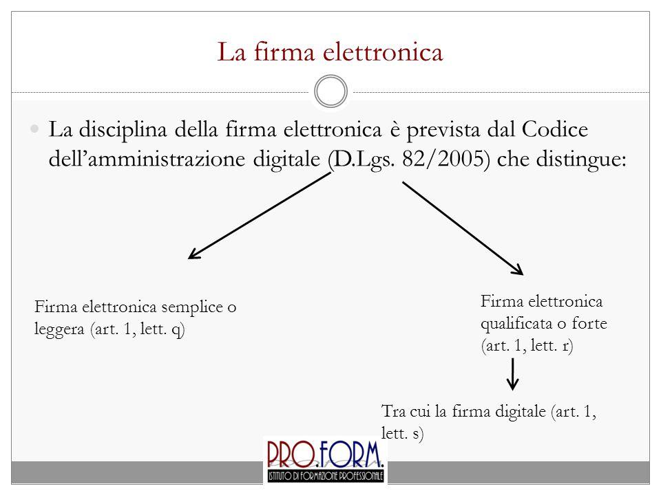 La firma elettronica La disciplina della firma elettronica è prevista dal Codice dell'amministrazione digitale (D.Lgs. 82/2005) che distingue:
