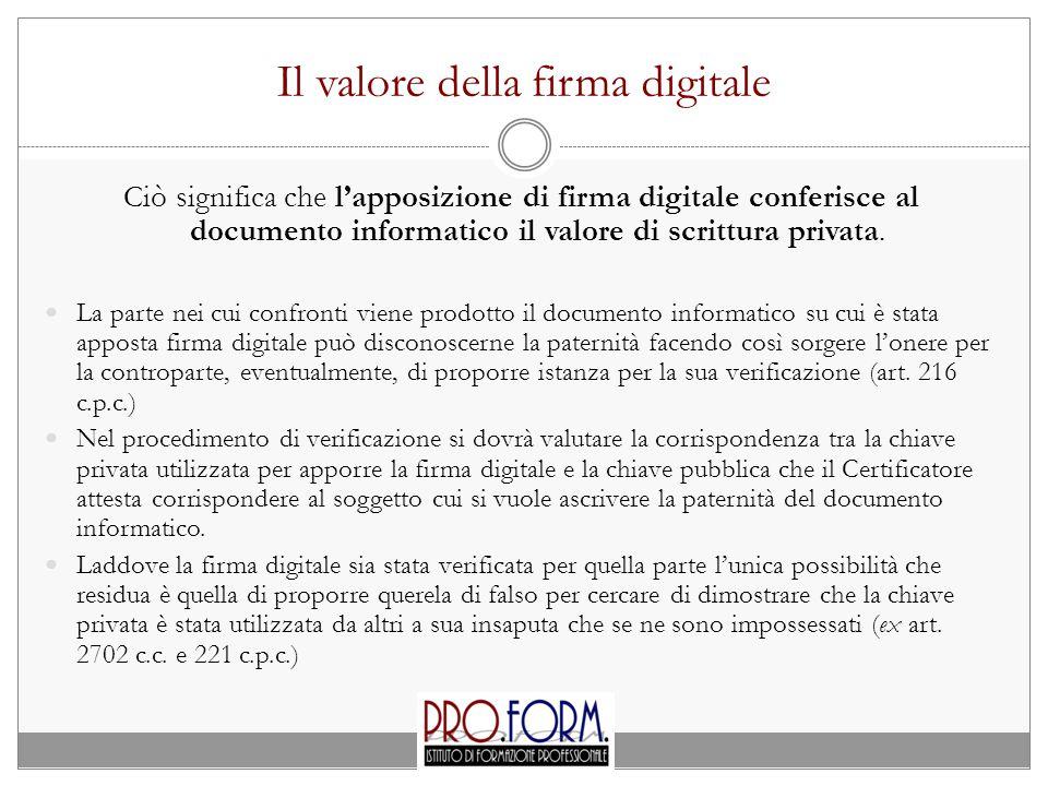 Il valore della firma digitale