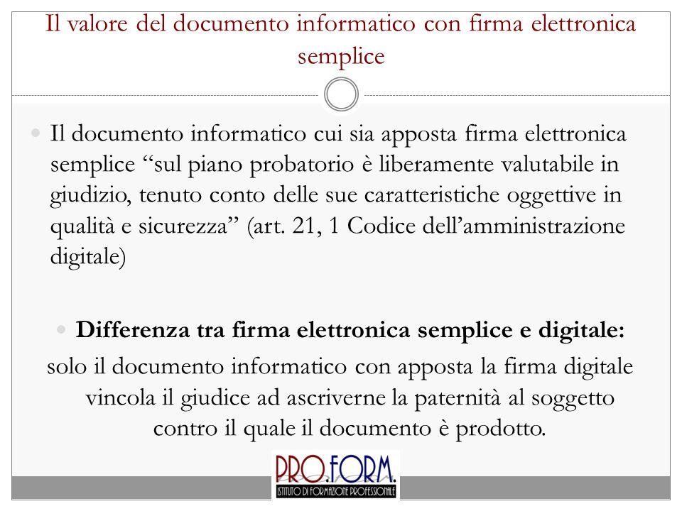Il valore del documento informatico con firma elettronica semplice