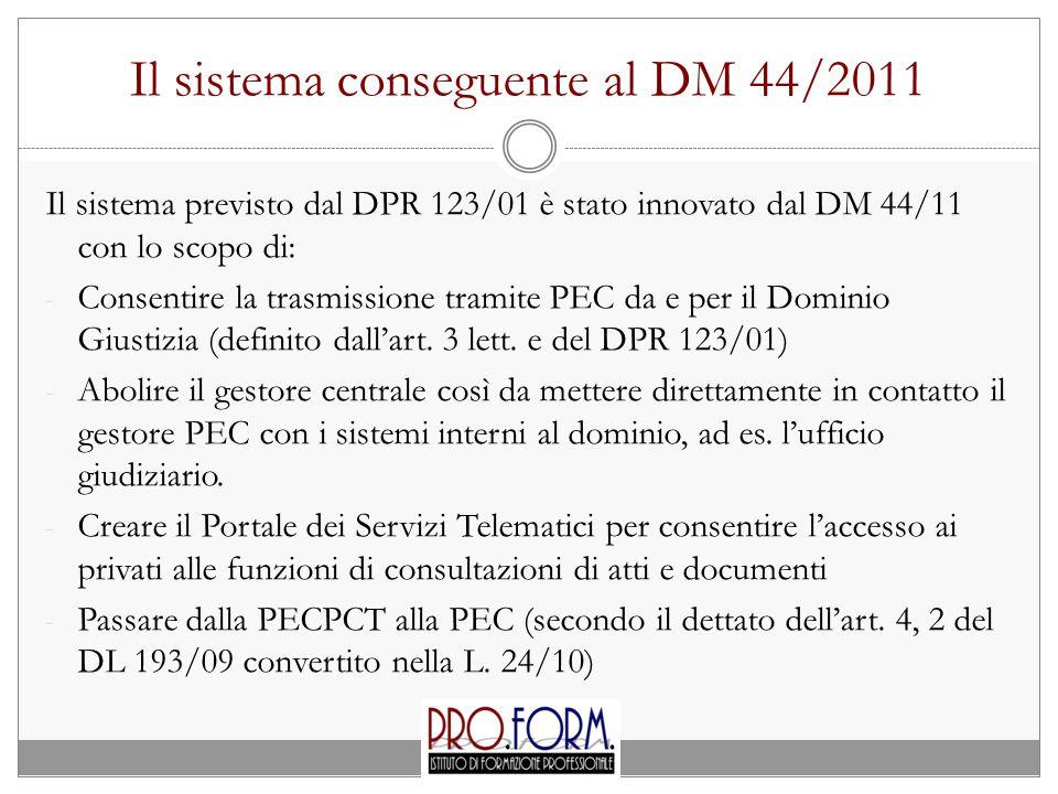 Il sistema conseguente al DM 44/2011