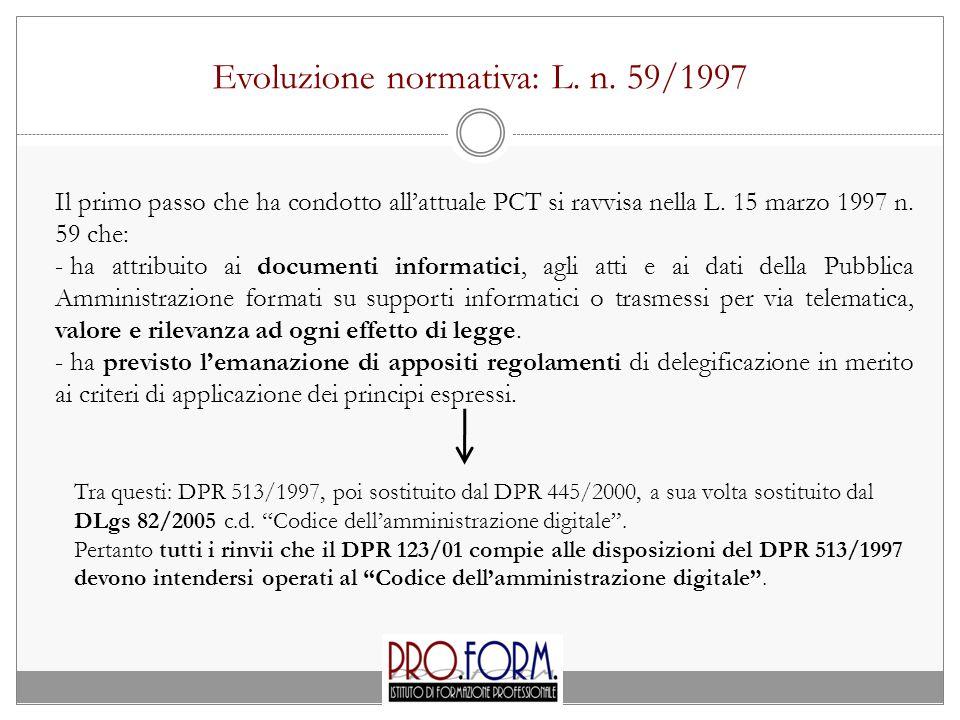 Evoluzione normativa: L. n. 59/1997