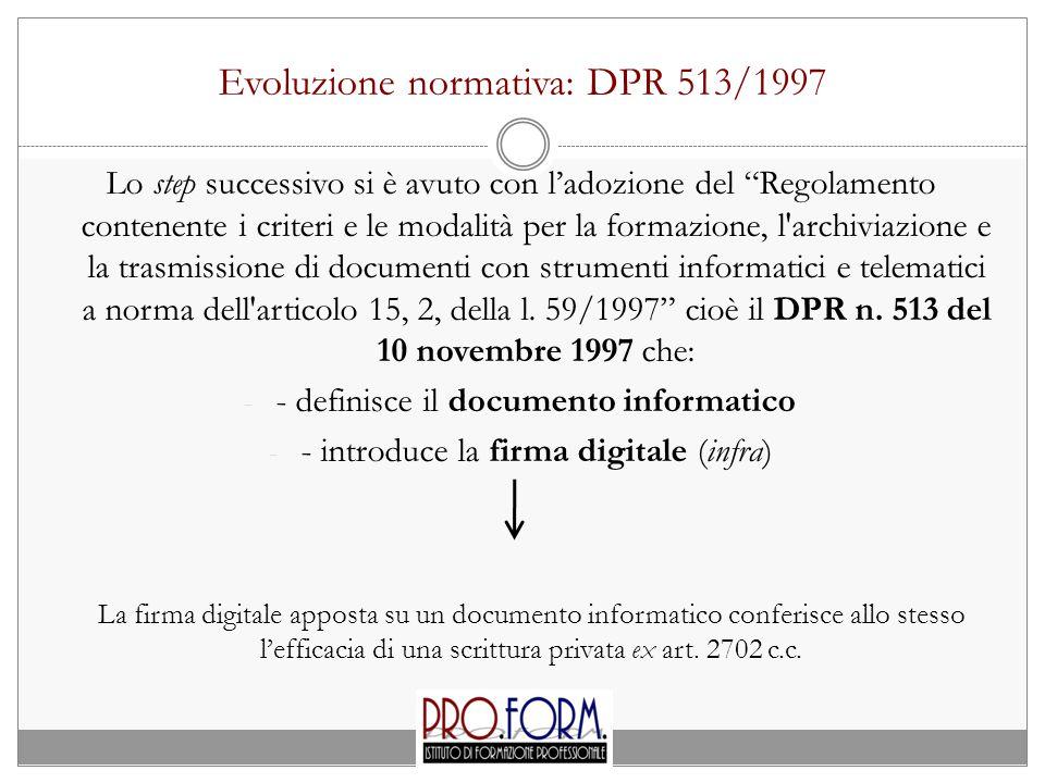 Evoluzione normativa: DPR 513/1997