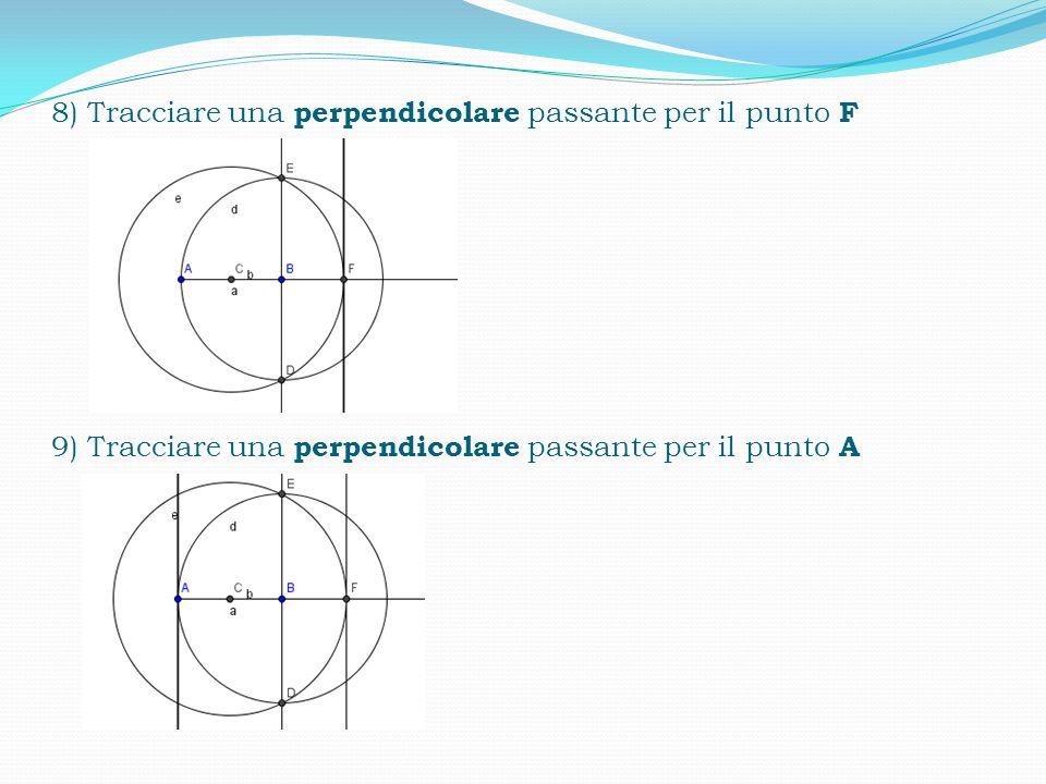 8) Tracciare una perpendicolare passante per il punto F 9) Tracciare una perpendicolare passante per il punto A