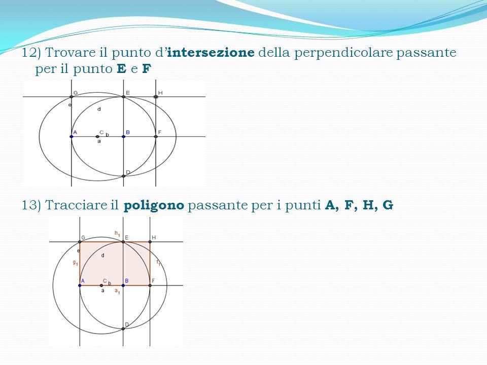 12) Trovare il punto d'intersezione della perpendicolare passante per il punto E e F 13) Tracciare il poligono passante per i punti A, F, H, G
