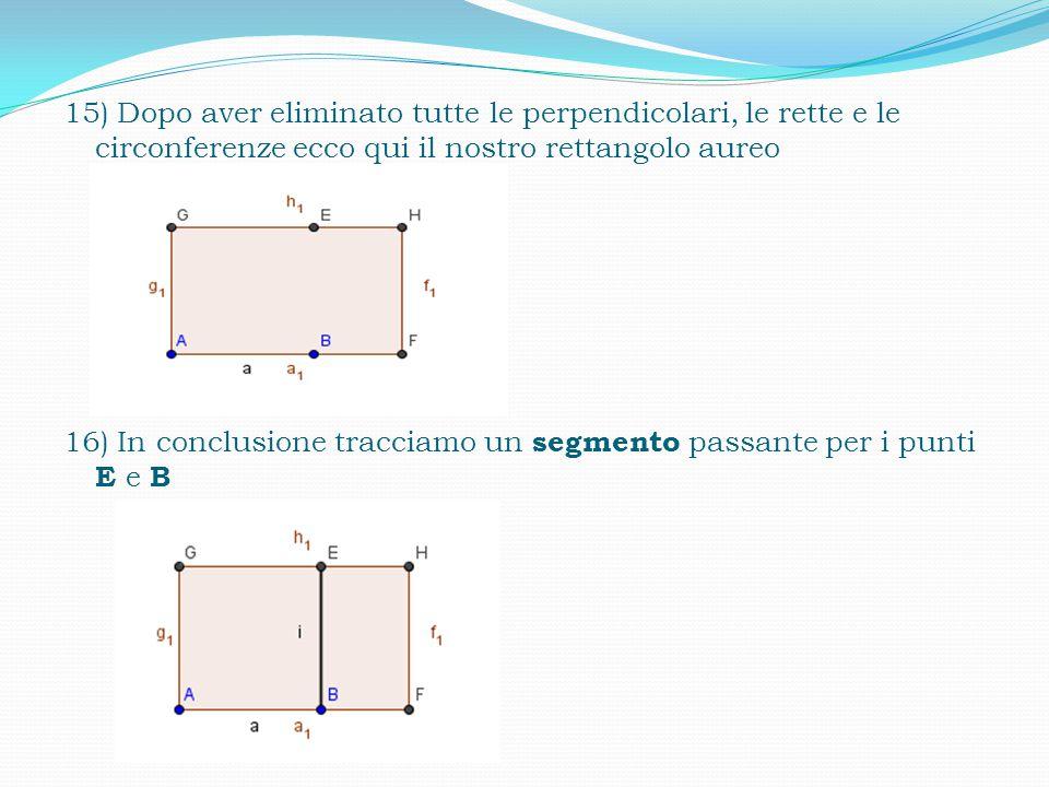 15) Dopo aver eliminato tutte le perpendicolari, le rette e le circonferenze ecco qui il nostro rettangolo aureo 16) In conclusione tracciamo un segmento passante per i punti E e B