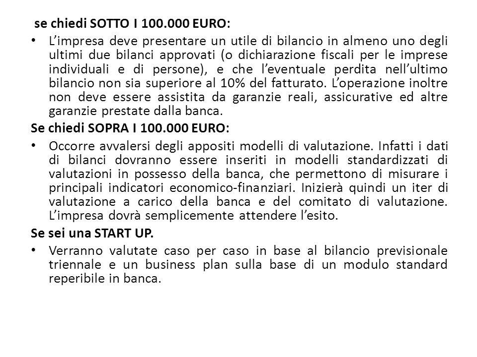 se chiedi SOTTO I 100.000 EURO: