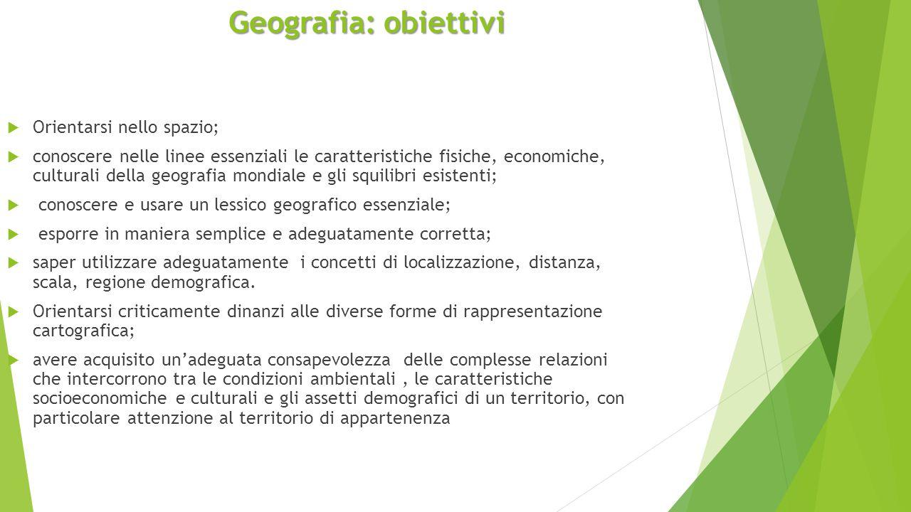 Geografia: obiettivi Orientarsi nello spazio;