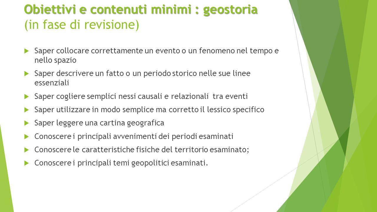Obiettivi e contenuti minimi : geostoria (in fase di revisione)