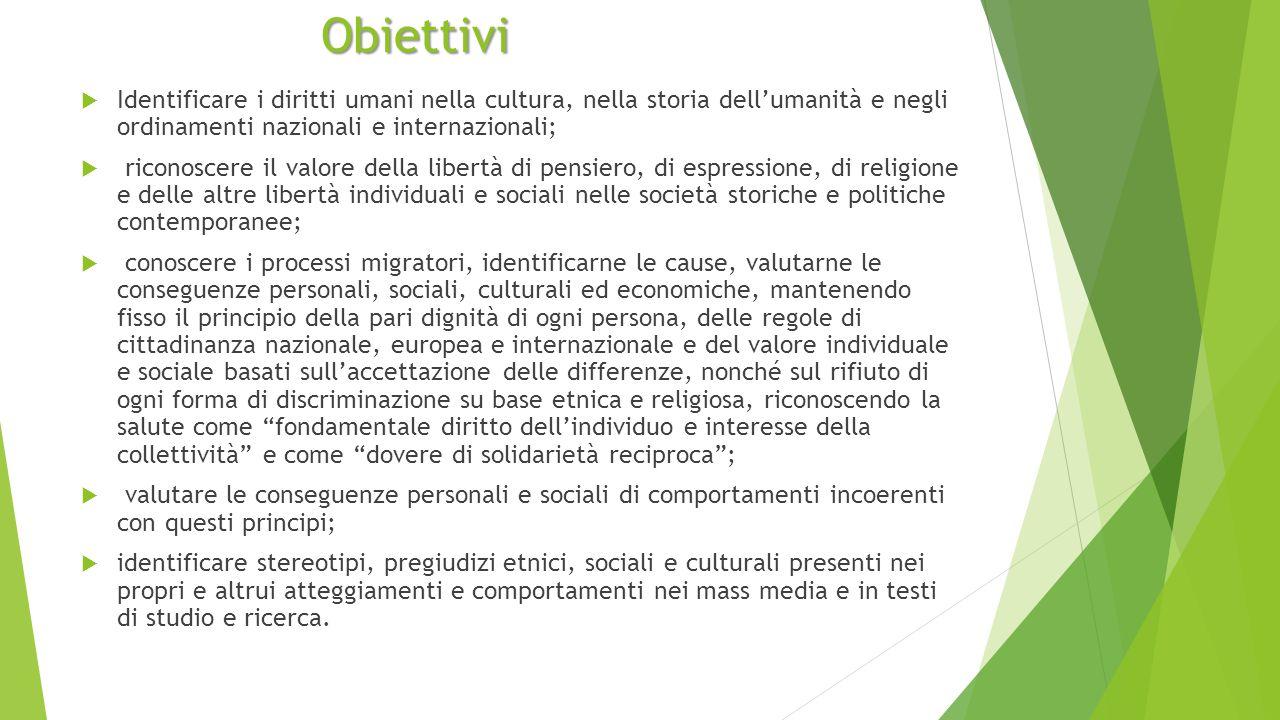 Obiettivi Identificare i diritti umani nella cultura, nella storia dell'umanità e negli ordinamenti nazionali e internazionali;