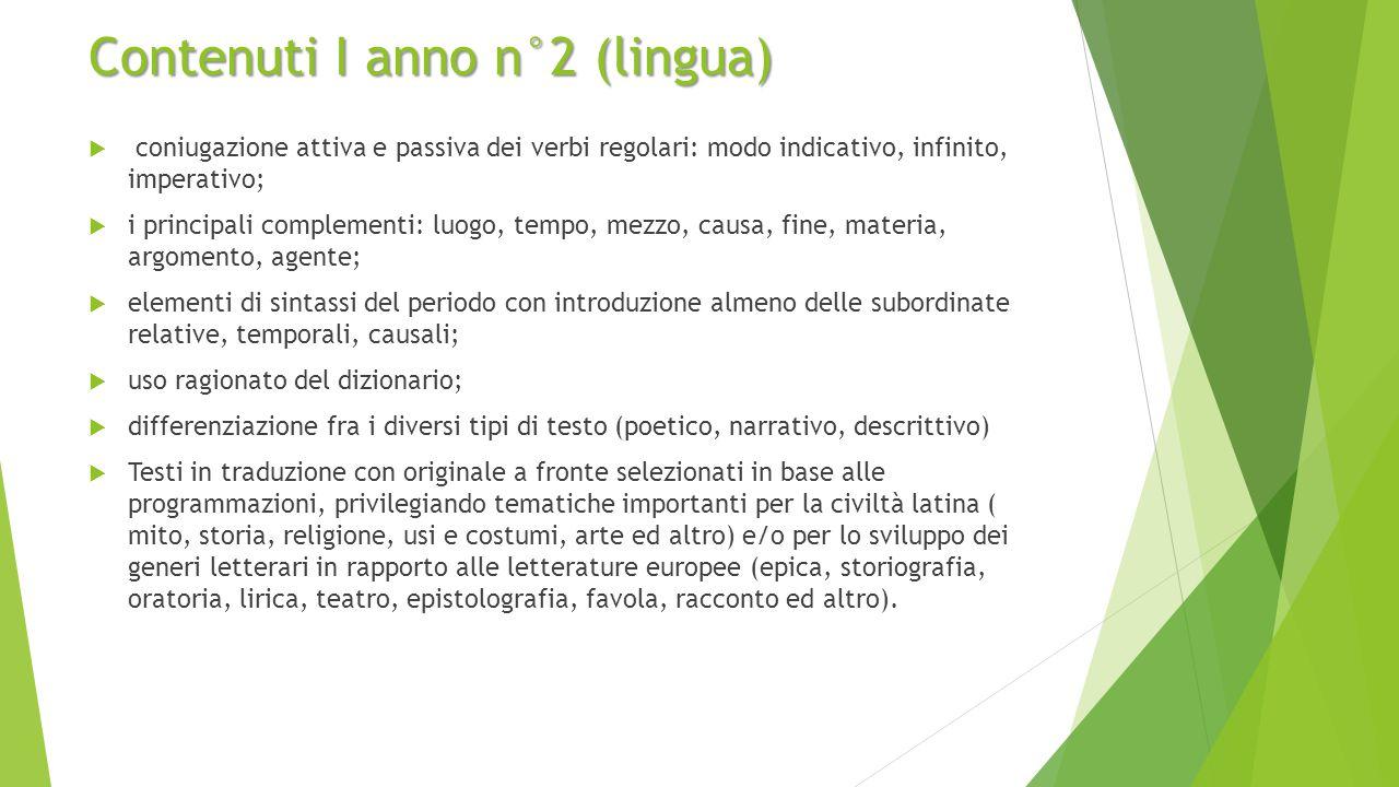 Contenuti I anno n°2 (lingua)