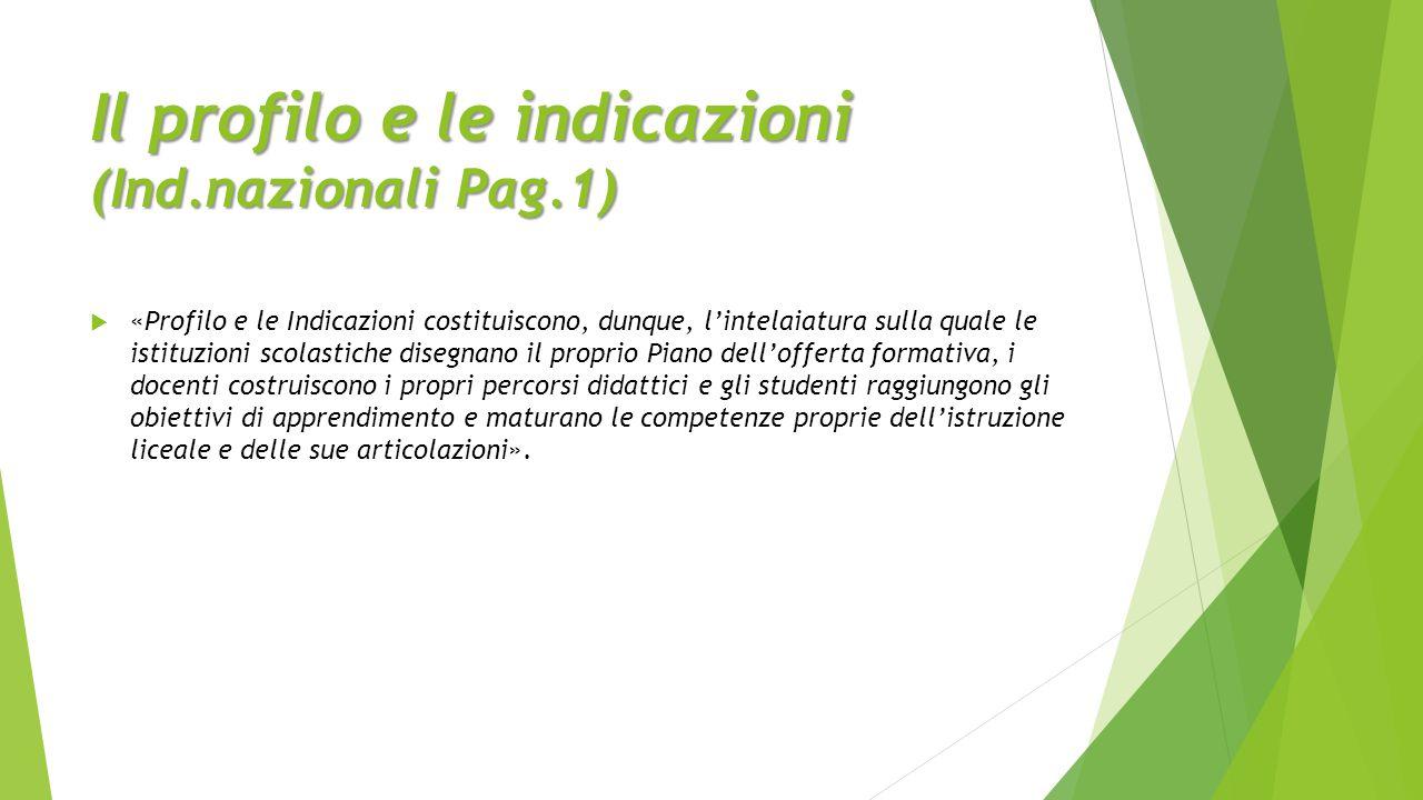 Il profilo e le indicazioni (Ind.nazionali Pag.1)