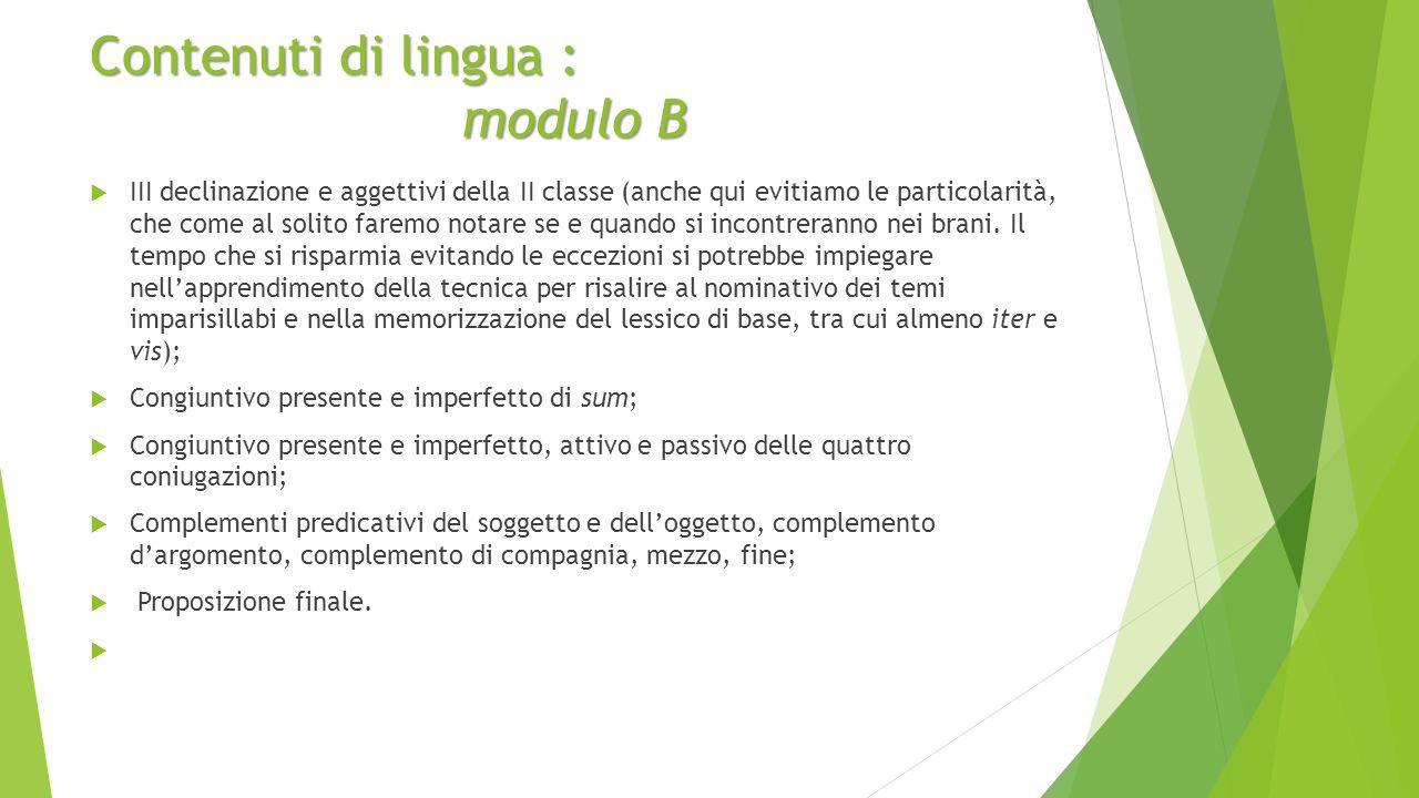 Contenuti di lingua : modulo B