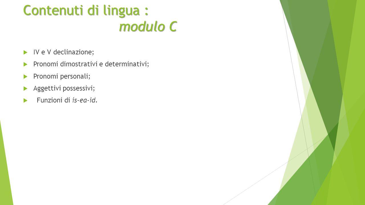 Contenuti di lingua : modulo C