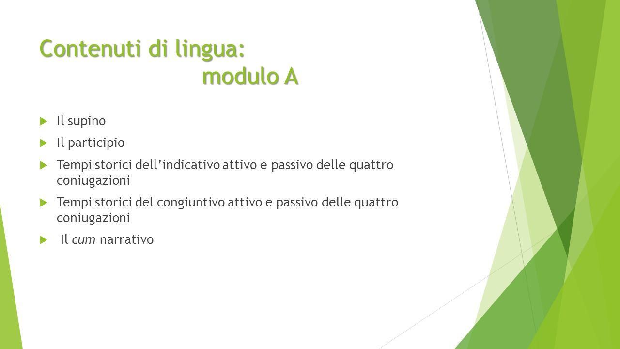 Contenuti di lingua: modulo A