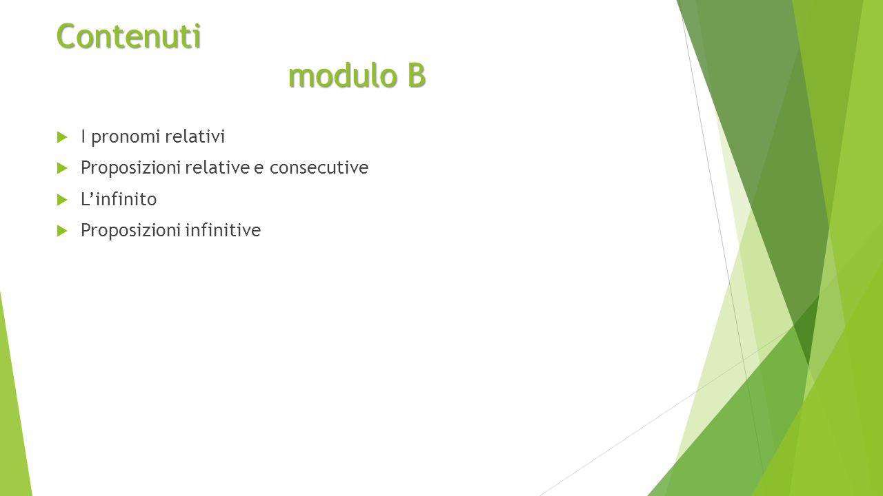 Contenuti modulo B I pronomi relativi