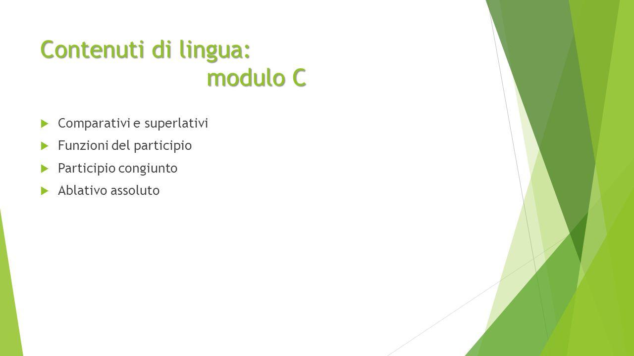 Contenuti di lingua: modulo C