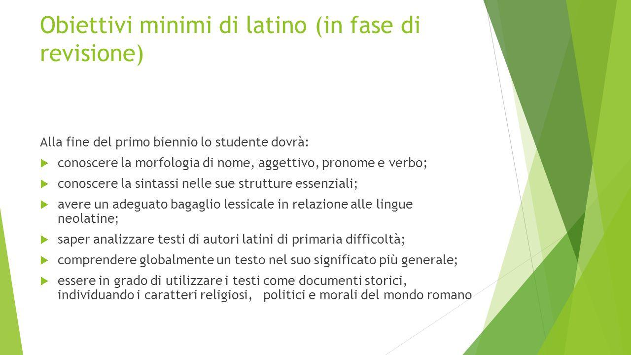 Obiettivi minimi di latino (in fase di revisione)