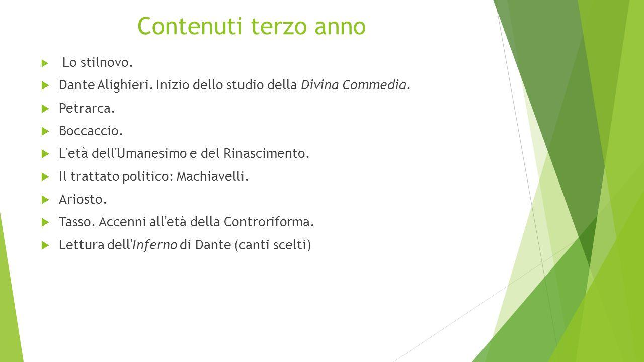 Contenuti terzo anno Lo stilnovo. Dante Alighieri. Inizio dello studio della Divina Commedia. Petrarca.