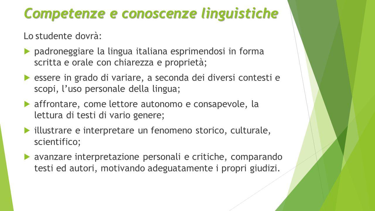Competenze e conoscenze linguistiche