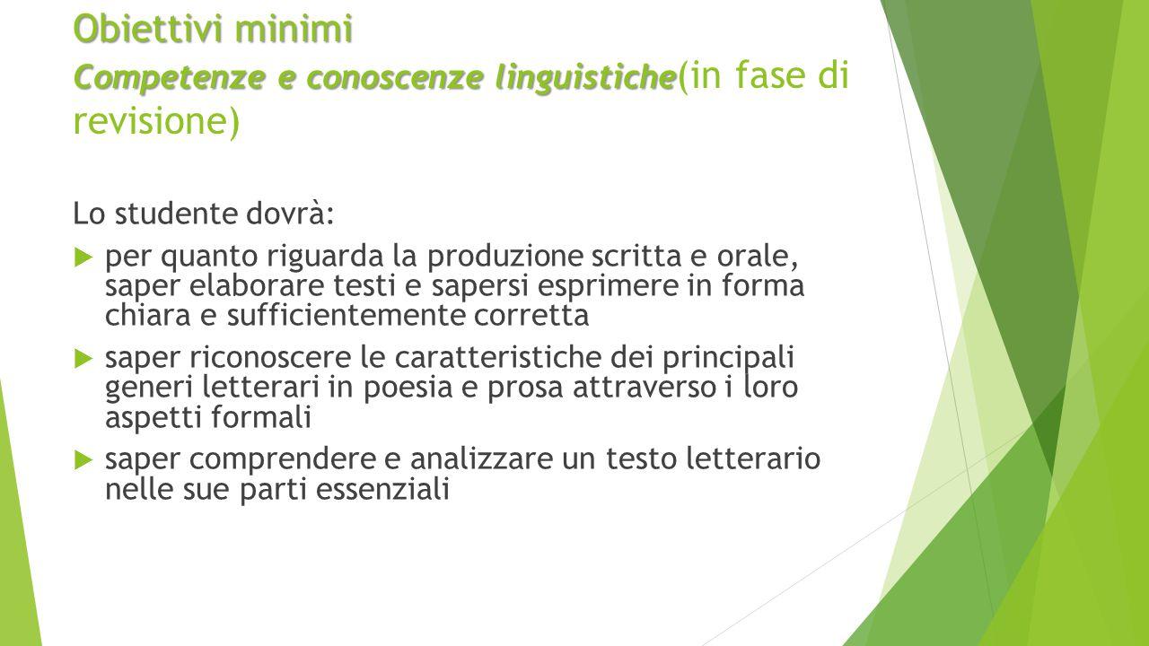 Obiettivi minimi Competenze e conoscenze linguistiche(in fase di revisione)