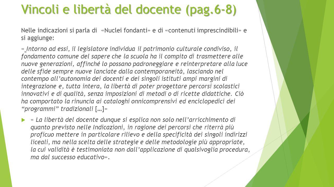 Vincoli e libertà del docente (pag.6-8)